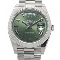 Rolex Day-Date 40 Witgoud 40mm Groen Romeins