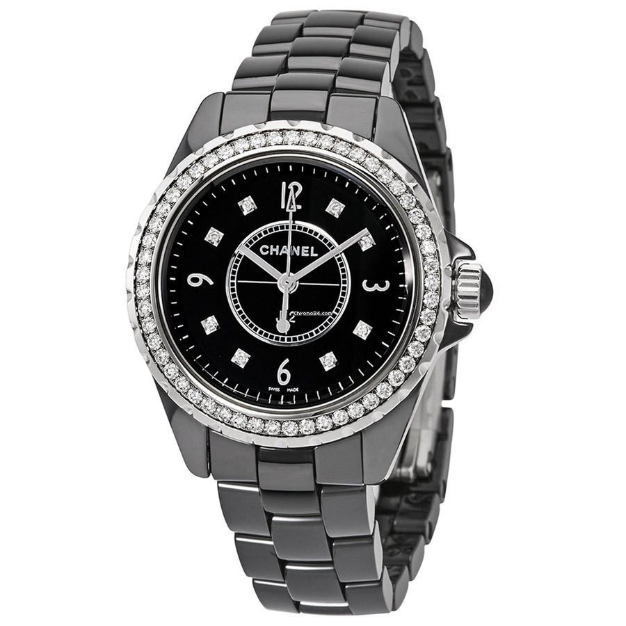 Chanel Ladies H3108 J12 Black Dial Ceramic Watch