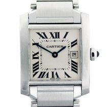 Cartier Tank Française pre-owned 31mm Silver Date Steel