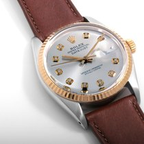 Rolex 18K/SS DATEJUST Custom Silver Diamond Dial - 36mm Quickset