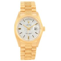 Rolex President Day-date Yellow Gold Silver Linen Dial Mens...