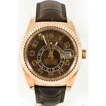 Rolex Sky-Dweller Ouro rosa 42mm Castanho Árabes