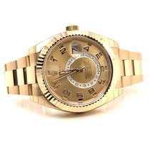 Rolex Yellow gold Automatic Champagne Arabic numerals 42mm new Sky-Dweller