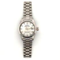 Rolex Lady-Datejust Or blanc 26mm Argent Sans chiffres