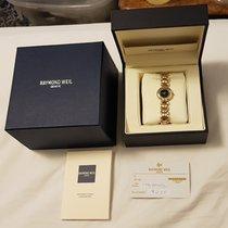 Raymond Weil Geneve #5842 Ladies 18k Gold Ge Diamonds Black...