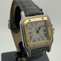 Cartier 29mm Quarz gebraucht Santos Galbée Weiß