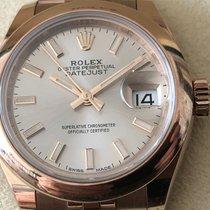 Rolex Lady-Datejust Açık kırmızı altın 28mm Gümüş Sayılar yok