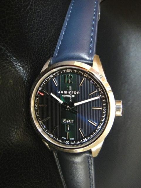 Hamilton Broadway Day Date Auto Blue Green Leather 42mm
