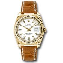 Rolex Datejust Or jaune 36mm Blanc