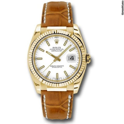 Rolex Datejust 36mm , Gold Yellow Gold , Fluted Bezel , Leather