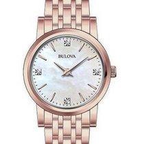 Bulova Ladies Rose Gold-Tone Stainless Steel Bracelet Watch...