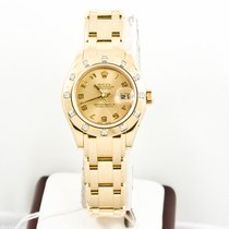 Rolex Yellow gold Automatic Champagne Arabic numerals 29mm pre-owned Lady-Datejust Pearlmaster