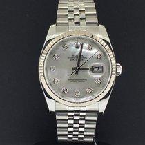 Rolex Datejust 36mm Steel 18k Fluted Bezel Factory MOP Diamond...