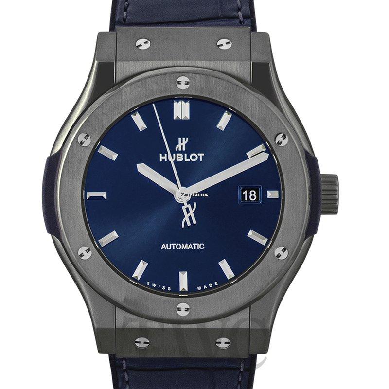 big sale b653b 8346b Hublot Classic Fusion Ceramic Blue Automatic Blue Dial Men's Watch