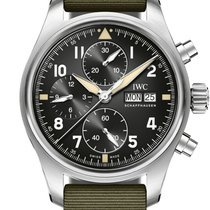 IWC Steel Automatic Black 41mm new Pilot Spitfire Chronograph