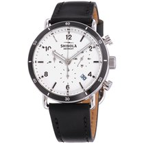 Shinola The Canfield Sport White Dial Leather Strap Unisex...