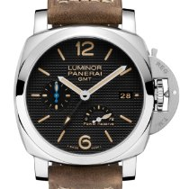 Panerai Luminor 1950 3 Days GMT Power Reserve Automatic Aço 42mm Preto Árabes