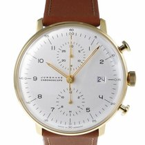Junghans max bill Chronoscope 027/7800.00 JUNGHANS MAX BILL CHRONOSCOPE bianco oro новые