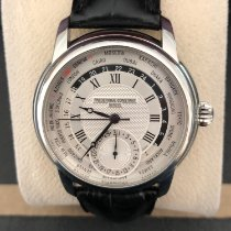 Frederique Constant Manufacture Worldtimer pre-owned 42mm Silver Date GMT Crocodile skin