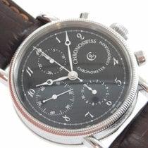 Chronoswiss Chronometer Chronograph Steel 38mm Black Arabic numerals