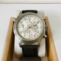 IWC Steel Automatic Silver Arabic numerals pre-owned Pilot Double Chronograph