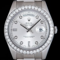 Rolex Day-Date II White gold 41mm Silver No numerals