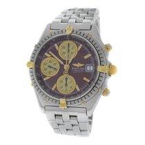 Breitling Mens  Chronomat B13048 Chronograph Steel Gold Burgu