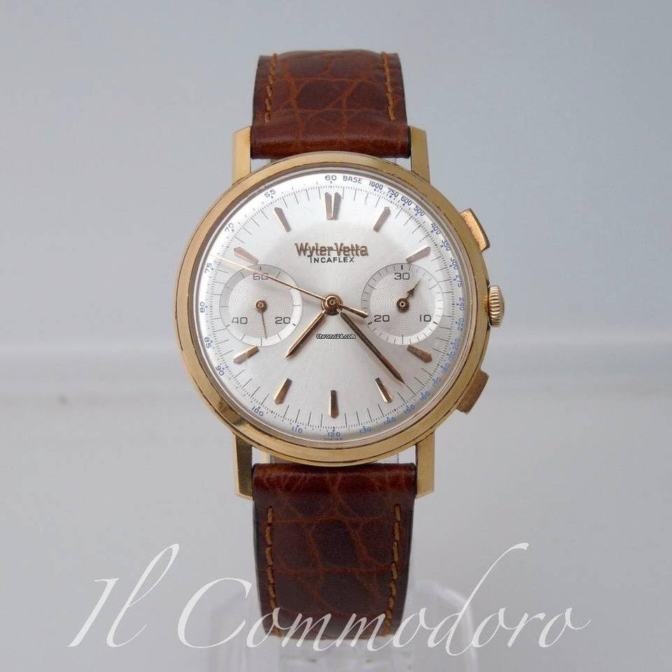 prezzo all'ingrosso orologio 2019 prezzo all'ingrosso Wyler Vetta Chronograph Incaflex Valjoux 23 Gold Rare 9730