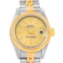 Rolex Datejust Steel 18k Yellow Gold Baton Dial Ladies Watch...