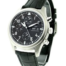 IWC 371701 Pilots Chronograph 42mm in Steel - on Black Leather...