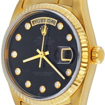Rolex Day-Date 36 Zuto zlato 35mm Crn Bez brojeva
