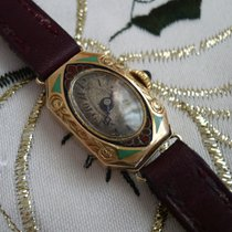 Vintage mechanical female gold watch Chiseled hand-painted...