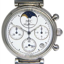 IWC Da Vinci Chronograph pre-owned 29mm White Moon phase Chronograph Leather