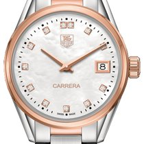 TAG Heuer Rose gold Quartz Mother of pearl No numerals 32mm new Carrera Lady
