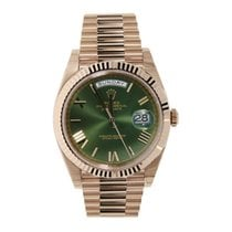 롤렉스 Rolex Day Date Olive Green 18 K Rose Gold 228235
