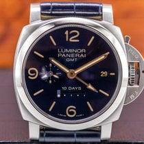 Panerai Luminor 1950 10 Days GMT pre-owned 44mm Blue Date GMT Crocodile skin