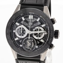 TAG Heuer Carrera Heuer-02T pre-owned 45mm Transparent Chronograph Tourbillon Crocodile skin