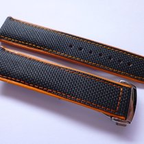 Bodhy 22mm strap - Black , Orange Nylon and Leather with Deplo...