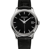 Patek Philippe Calatrava 39mm White Gold Watch Black Leather...