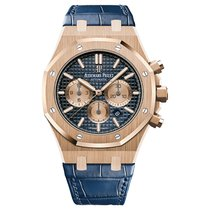 Audemars Piguet Royal Oak Chronograph Rose Gold Blue Dial Blue...