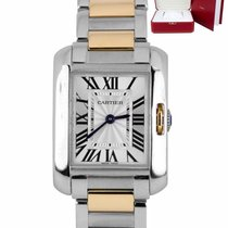 Cartier Tank Anglaise Gold/Steel 30.2mm Silver Roman numerals