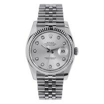 Rolex DATEJUST 36mm Steel Silver Diamond Dial Watch 116234