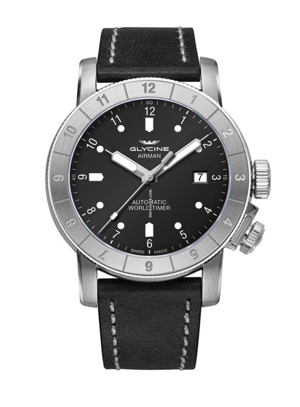 Glycine Airman 42 Double Twelve Steel Black Dial Leather Strap