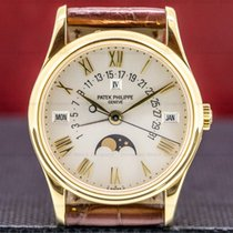 Patek Philippe Yellow gold Automatic Silver Roman numerals 36mm pre-owned Perpetual Calendar