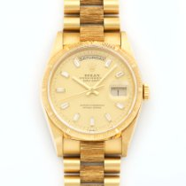 Rolex Day-Date Yellow Gold Bark Baguette Diamond Watch Ref. 18248
