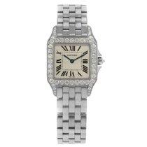 Cartier Santos WF9004Y8 18K White Gold Diamond Ladies Watch...
