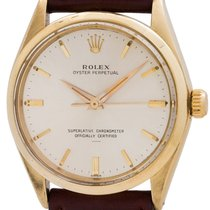 Rolex Yellow gold Automatic Silver 34mm pre-owned Oyster Perpetual 34