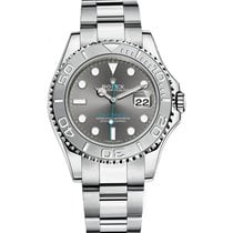 Rolex Platinum Automatic Grey No numerals 40mm pre-owned Yacht-Master 40