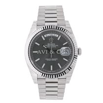 Rolex DAY-DATE 40 White Gold President Dark Rhodium Stripe Dial