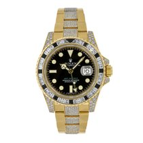 Rolex GMT-MASTER II 18K Yellow Gold with Factory Diamonds...
